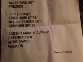Setlist Bremen 10.05.2013