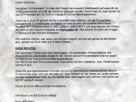 Brief Gewinnspiel 2003