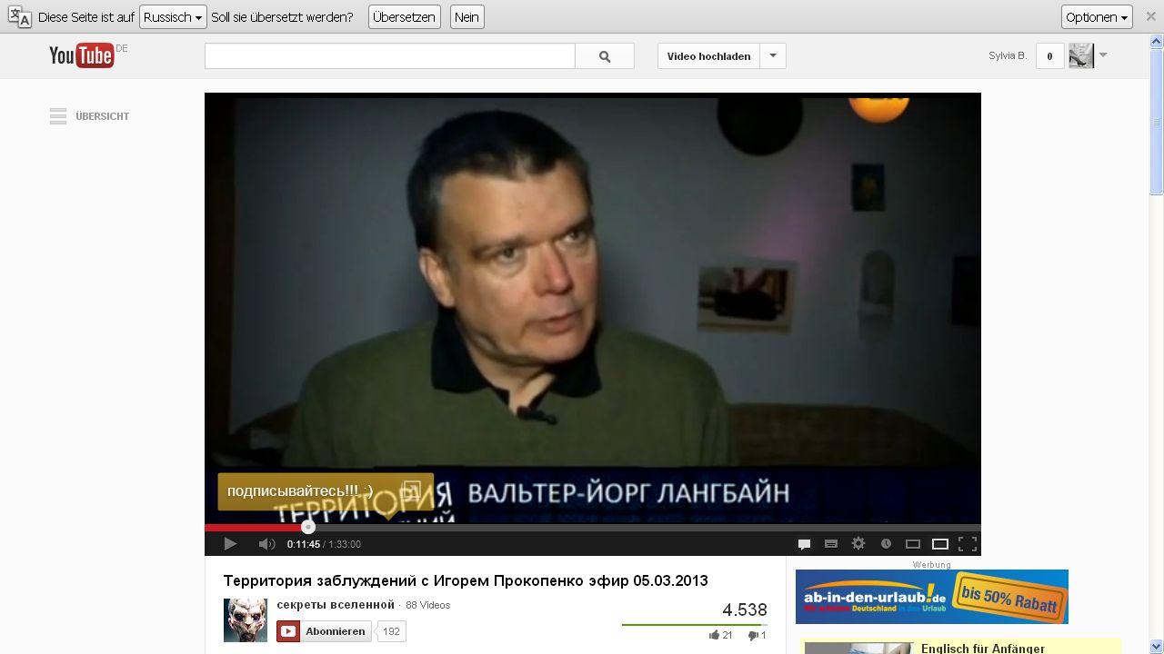 WJLangbein im russischen Fernsehen